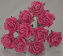 1 cm DEEP PINK Mulberry Paper Roses